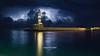 Goodnight from Chania ! (Bazil Van Sinner) Tags: lightning lighthouse chania crete tonight blackandwhite colored wintermood thunder storm bvs bazilvansinner bazilvansinnerphotography