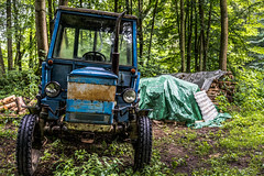 Tractor (DC P) Tags: at work woods blue green tractor machine agrimotor trekker wood tree steering wheel pov bej dof angle adventure a7rii beautiful bokeh color depth explore fantastic glass hdr landscape nature ngc outdoor outside soe serene travel transport view world old bike forest grass road park tractors machinery