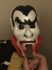 Have A Snickers, Dracula (splinky9000) Tags: kingston ontario halloween 2016 dracula vampire styrofoam bust snickers candy bar chocolate