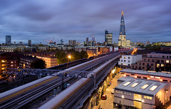 Stripes To The Shard (JH Images.co.uk) Tags: london shard train light trail trails blue night lights tracks hdr dri