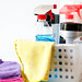 Cleaning Supplies on a White Container