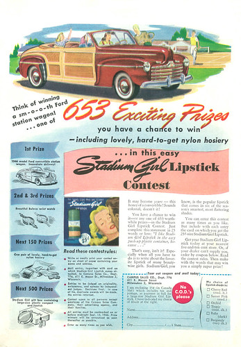 Illustrated 1946 Ad Stadium Girl Lipstick Contest First Prize Ford Convertible Station Wagon