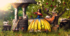 """Snow White Contest Entry"" Snow White and her friends (meriluu17) Tags: enchantment snow white snowwhite animal animals friends bunny bunnies deer deers jian fox doe does bird apples appletree gown fairytale fairy tale fantasy sureal childhood disney"