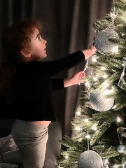 Chloe (✈Busy-Off To Canada Today!✈) Tags: chloe christmastree decorating silver child granddaughter