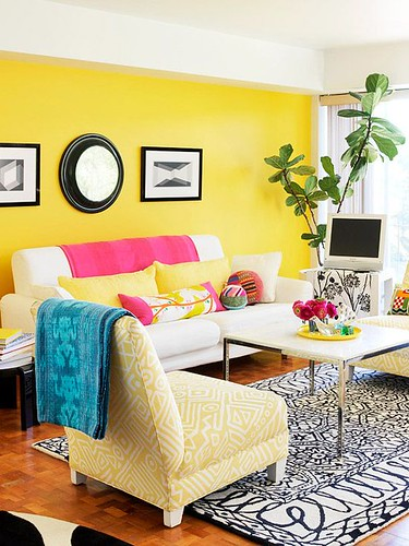 Living Room Decor : Check out these living rooms that feature yellow! Use yellow to brighten up your...