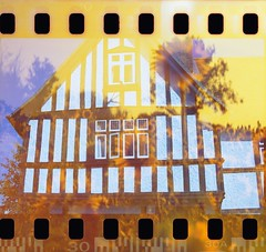 House of the rising sun. (von8itchfisk) Tags: shoot film 35mm analog analogphotography double exposure redscale lomography kodak box brownie olympus om10 flipped filmswap vonbitchfisk sunflower house architecture needham market suffolk eastanglia sprockets