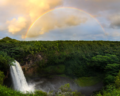 Wailua Falls Rainbow (Lace Photos www.lacephotos.com) Tags: kauai hawaii rainbow waterfall wailuafalls island tropical sunset green jungle valley water spray colorful travel