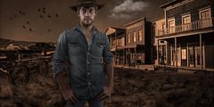 Joey Lee: Cowboy Photoshoot (Photoshop Composite Image) (Kᵉⁿ Lᵃⁿᵉ) Tags: asheville geo:lat=3559500541 geo:lon=8255175836 geotagged northcarolina unitedstates usa ashevillemodel compositeimage cowboy cowboyphotoshoot joelgrimeslook joeylee malemodel photoshoot photoshopcc photoshopcomposite westerntown joelgrimesinspired
