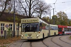 Langsam wird die Busausstellung aufgelöst. Bei der Ausfahrt der Hauptwerkstätte präsentieren sich die Museumsbusse den Fotografen. Hier zeigt sich der Regensburger MAN-Gelenkbus 215 vom Typ SG 242 (Frederik Buchleitner) Tags: 10jahremvgmuseum 215 bus gelenkbus hauptwerkstätte man mvgmuseum munich münchen omnibus rvb regensburg sg242