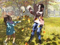 Autumn fun and games (daisypea) Tags: daisy crowley daisycrowley teen teenage toddler child children kid second life secondlife virtual world avatars avatar childhood photo photography cute family flickr click mama mother mom parent leaf leaves autumn fall toss throw