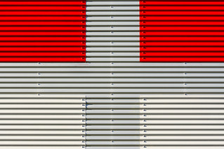 Red, grey and white facade (on Explore)