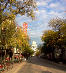 fall eve on state (kerwilliger) Tags: madison wisconsin statestreet urban buildings clouds