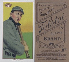 2002 Topps 206 Mini Baseball Card / Series 1 / Tolstoi (Black) - TY COBB / REP #172 (Baseball Hall of Fame 1936) (Detroit Tigers) (Treasures from the Past) Tags: series1 series2 series3 2002 2003 topps 206 topps206 baseball polarbear sweetcaporalred sweetcaporalblack cycle carolinabrights blackpiedmont redpiedmont uzit masterset sweetcaporal sweetcaporalblue blue mini card minicard baseballcard 2002topps206 t206 hof halloffame baseballhalloffame tycobb detroittigers outfielder blacktolstoi redtolstoi