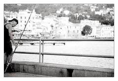 """"""" Il pescatore della domenica...."""" (Davide Zappettini) Tags: davidezappettiniphotography filmbw bianconero analog people ilford fisherman elderly sunday blackandwhite"""