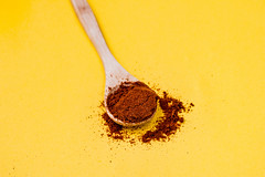 Red pepper spice on wooden spoon. Yellow background (wuestenigel) Tags: spice pepper space background ground hot food macro seasoning powder peppers black isolated flakes white rose spoon wooden aroma dried chili peppercorn chilli texture healthy wood red ingredient herb grey salt view top freshness flavor closeup cayenne spices rustic organic