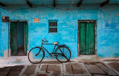 Like a Painting (claudiobrasla) Tags: india asia wall blue door window street culture travel traditional rusty paint green bicycle transportation tires concrete canon explore
