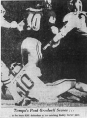 Tampa's Paul Orndorff scores after catching Buddy Carter pass vs Kent St in 1972 Tangerine Bowl (Jbsbbailey) Tags: tampa spartans football 1972 paul orndorff kent state tangerine bowl earle bruce john matuszak