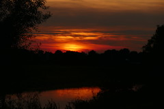goodbye summer (nelesch14) Tags: sunset autumn fall landscape river sun evening nature silhouette tree reflection sky clouds twilight water