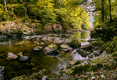 _DSC0235776655444-2261 (SteveKenilworth2014) Tags: betwsycoed betws coed wales snowdonia river long exposure trees bridge stitch panorama reflection reflections fall autumn leaves