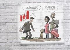 Canada and USA border crossing (Grain Sand) Tags: cartoon flag refugee parody paradise brickwall poster family fugitives canadaborder canada usa