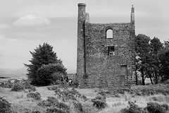 Against the Tin (Gram Joel Davies (see ablums)) Tags: bw blackandwhite monochrome cornwall bodmin tin mine factory industry mining ruin old building chimney architecture stone wall metal history historic abandoned disused ancient heritage british