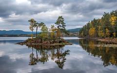 Autumn Lake (bjorbrei) Tags: water shore lake island islet reflections forest trees sky clouds pines fall autumn maridalen maridalsvannet lakemaridal oslo norway