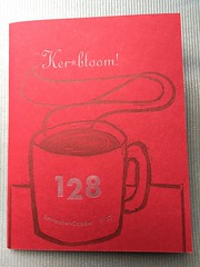 Ker-bloom! 128 (artnoose) Tags: kerbloom paper source red cover stock front letterpress zine coffee cup linoblock linocut linoleum print silver ink star cargo bike bikes bicycle parenting carfree kona ute