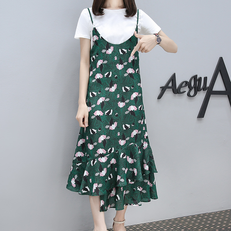 2017 new summer dress women fat sister XL floral thin dress fashion from the stomach
