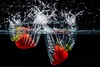 Flash Splash! (Note-ables by Lynn) Tags: water splash strawberries studiowork flashphotography