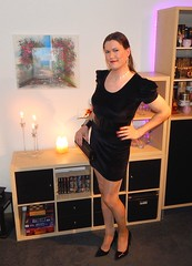 Little black dress (Rikky_Satin) Tags: black velvet mini dress vinyl belt pumps highheels pantyhose transformation m2f mtf feminization crossdresser crossdressing transvestite tranny tgirl gurl sissy femboi