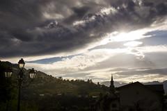 Saint-Gervais-les-Bains (Lolo_) Tags: saintgervaislesbains hautesavoie france église church réverbère streetlamp montblanc sunset coucher soleil clouds nuages