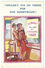 Everlasting Night (pepandtim) Tags: postcard old early nostalgia nostalgic comic saucy everlasting night joke inaccurate claim travel agent mundesley norfolk holbrook way bromley kent 06071948 1948 just married honeymoon suitcase luggage comicus 44eve65 shop window hat cartoon fur jacket car ferry bristol freighter lympne le touquet silver city airways