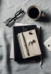 work.... (sonja-ksu) Tags: work coffee business notebook tablet headphones phone accessories photography stilllife