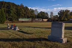 Southern Wakes The Dead (lukeharwell) Tags: church graveyard fall autumn dpu trains railroad catawba sline asheville district 744 coaltrain norfolksouthern southernrailway heritageunit ge es44ac