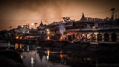 Funeral Pyres at Sunset (#Weybridge Photographer) Tags: canon slr dslr eos 5d mk ii nepal kathmandu asia mkii funeral pyres pyre cremation cremations sunset dusk pashupatinath temple