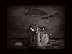 Illustrated Dreams 3 (jimlaskowicz) Tags: netartll night dark moody umbrella clock time impressionisticartistic illustration dreams surreal jimlaskowicz art mask clowns