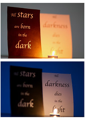 Focus 1 and 2 (Marie-Baeten) Tags: dark light focus stars darkness quotes candle text quote f18 85mm flame fire collage 2 shine