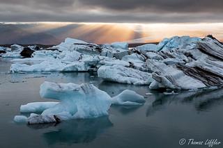 sunset on the glacier lagoon