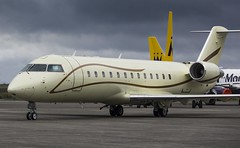 9H-JOY Bombardier Challenger 850 @ Cornwall Airport Newquay, St Mawgan. (Sw Aviation) Tags: airplane moody sky grey yellow red planes aircraft flying flight