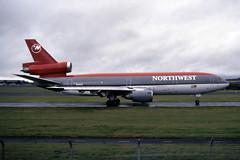 N145US. Northwest Airlines Douglas DC10-40 (Ayronautica) Tags: douglasdc1040 northwestairlines n145us ayronautica aviation prestwick egpk pik scanned airliner