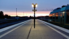 Platform at dusk (Jaedde & Sis) Tags: dusk evening viborg station train railway reflection arriva 15challengeswinner