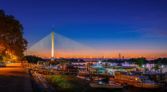 Ada-Bridge-Sunset-6 (Predrag Mladenovic) Tags: belgrade sava river ada bridge newrailway gazela sunset twilight reflections citylights