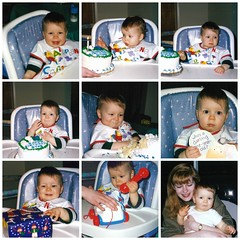 Ryan's First Birthday (genesee_metcalfs) Tags: collage winter february family son birthday cake baby presents toys candle