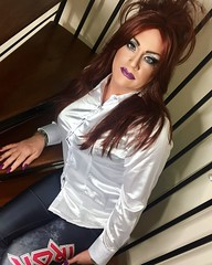Rock chick (Sissy kaylah) Tags: bighair heavymakeup redhead satin satinblouse leggings shinyblouse shinyleggings ironmaiden crossdresser tranny trans tgirl