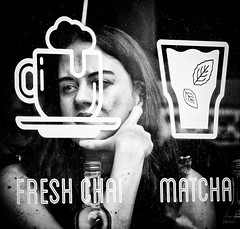 Coffee on my mind (Andy J Newman) Tags: workshop street young lady course girl silverefex monochrome olympus woman candid cafe london streetsnappers blackandwhite coffee om england unitedkingdom gb
