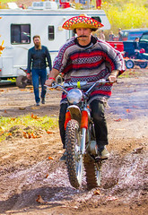 Pit Bandit (John Kocijanski) Tags: people hat motorcycle hillclimb vehicle costume race sport dirtbike canon70300mmllens canon7d streetphotography pitbike