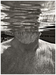 Me 2017 #76; Self-portrait Without Face (hamsiksa) Tags: water pools swimmingpools peoplewater swimming underwaterphotography man oldman beard faceless male geezer senior series portrait selfportrait underwaterportrait ambientlight availablelight blackwhite