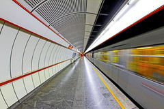 Empty Station (CoolMcFlash) Tags: train subway station symmetry symmetrie symmetrisch architecture tunnel underground motion speed drive blur canon eos 60d nobody empty vienna austria city urban transport wienerlinien zug ubahn architektur bewegung bewegungsunschärfe fahren geschwindigkeit niemand leer wien österreich stadt fotografie photography sigma 10mm fisheye