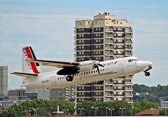 OO-VLN - Fokker 50 - LCY (Seán Noel O'Connell) Tags: cityjet oovln fokker50 londoncityairport lcy eglc nte lfrs wx209 bcy209