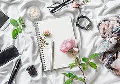beauty... (sonja-ksu) Tags: photography beauty roses perfumes sunglasses scarf headphones accessories ink flowers stilllife cosmetics vintage notepad